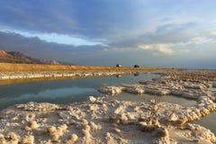 Formations en cristal des sels minéraux dans les eaux de la mer morte Littoral avec des montagnes sur l'horizon photos libres de droits