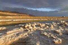 Formations en cristal des sels minéraux dans les eaux de la mer morte Littoral avec des montagnes sur l'horizon image libre de droits
