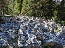 Formations en pierre dans la vallée suisse de Rosenlaui de montagnes Photographie stock libre de droits