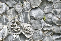 Formations en pierre hexagonales en vallée de Vesturdalur en Islande du nord images libres de droits