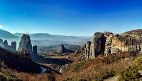 Formations géologiques de Meteora Photographie stock libre de droits