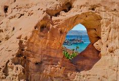 Formations géologiques en parc de désert de nature de Timna photo stock