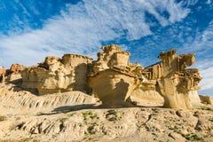 Formations naturelles de roche d'érosion dans Bolnuevo, Espagne image libre de droits