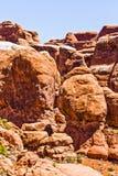 Formations scéniques de grès des voûtes parc national, Utah, Etats-Unis Images stock
