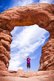 Formations scéniques de grès des voûtes parc national, Utah, Etats-Unis Photographie stock