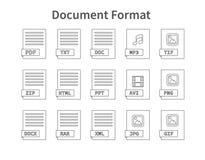 Formato de documento Sistema plano del icono del estilo Tipo de archivo programado, extensión pictogram Web y multimedias Ordenad Fotografía de archivo libre de regalías