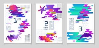 Formato A4 de três cartazes, para o registro Cores modernas, inclinações Fotografia de Stock