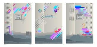 Formato A4 de três cartazes, para o registro Cores modernas, inclinações Imagens de Stock Royalty Free