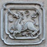 Formato decorativo del cuadrado del diseño de la pared del modelo de la escultura blanca del estuco Fotografía de archivo libre de regalías