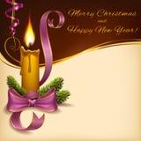 Formato horizontal encendido la Navidad de la vela Foto de archivo libre de regalías