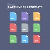 Formatos de archivo de almacenamiento ilustración del vector