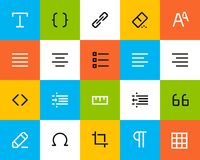 Formatting and editing icons. Flat Stock Photography