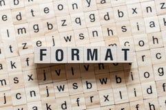 Formatwortkonzept auf W?rfeln stockfotos