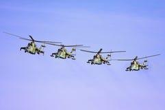 Formazione degli elicotteri militari Fotografia Stock Libera da Diritti