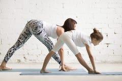 Formazione degli insegnanti di yoga dei bambini con un bambino una posa di Parsvottanasana immagini stock libere da diritti
