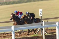 Formazione dei cavalieri dei cavalli da corsa Fotografia Stock Libera da Diritti