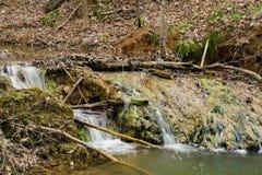 Formazione della cascata del travertino - 3 Fotografie Stock