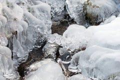 Formazione della gelata congelata ghiaccio dell'acqua di ruscello Fotografie Stock Libere da Diritti