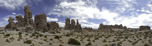 Formazione della sabbia di panorama del deserto e di paesaggio della roccia Immagini Stock