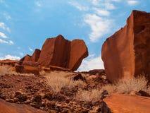 Formazione di pietra della sabbia nell'area di Twyfelfontein Immagine Stock