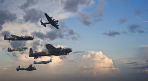 Formazione di volo britannica dell'annata della seconda guerra mondiale Immagine Stock Libera da Diritti