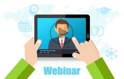 Formazione di Webinar, conferenza online ed istruzione facendo uso del dispositivo mobile Fotografia Stock