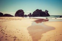 Formazione rocciosa del cammello sulla riva dell'oceano vicino al lago Wallaga, NSW, Australia Immagini Stock Libere da Diritti