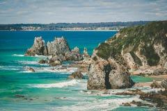Formazione rocciosa della testa di cavallo sulla riva in NSW, Australia dell'oceano Fotografie Stock Libere da Diritti
