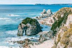 Formazione rocciosa della testa di cavallo sulla riva in NSW, Australia dell'oceano Fotografie Stock