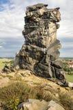 Formazione rocciosa, la parete del diavolo, Weddersleben, Germania Fotografia Stock Libera da Diritti