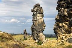 Formazione rocciosa, la parete del diavolo, Weddersleben, Germania Fotografia Stock