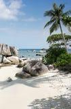 Formazione rocciosa naturale nel mare e su una spiaggia di sabbia bianca con una palma nell'isola del Belitung Immagini Stock