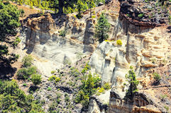 Formazione rocciosa Paisaje lunare, paesaggio vulcanic su Tenerife Fotografia Stock Libera da Diritti