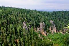 Formazioni dell'arenaria di Teplice a partire da sopra Fotografia Stock Libera da Diritti