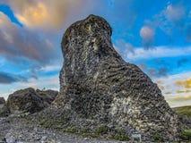 Formazioni geologiche uniche basalto e rosette colonnari del basalto a Vesturdalur, Asbyrgi, con il cielo drammatico nel tramonto fotografia stock libera da diritti