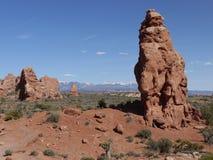 Formazioni rocciose in arché parco nazionale, Utah, U.S.A. Immagine Stock Libera da Diritti