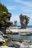 Formazioni rocciose del Flowerpot sull'isola del Flowerpot Immagine Stock Libera da Diritti