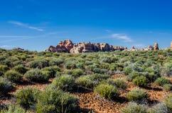 Formazioni rocciose nella sosta nazionale di Canyonlands Fotografia Stock