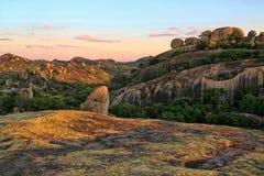Formazioni rocciose pittoresche del parco nazionale di Matopos, Zimbabwe fotografia stock