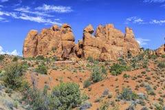 Formazioni rocciose rosse in arché parco nazionale, Utah immagine stock libera da diritti