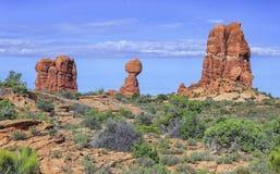 Formazioni rocciose rosse, arché parco nazionale, Utah immagine stock