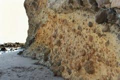Formazioni rocciose sulla spiaggia a Almeria, Spagna Fotografia Stock