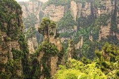 Formazioni rocciose verticali di Zhangjiajie Forest Park nazionale, Hu Immagine Stock Libera da Diritti