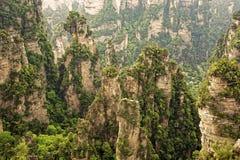 Formazioni rocciose verticali di Zhangjiajie Forest Park nazionale, Hu Immagine Stock