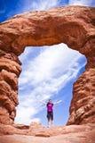 Formazioni sceniche dell'arenaria di arché parco nazionale, Utah, U.S.A. Fotografia Stock