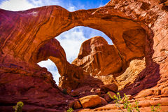 Formazioni sceniche dell'arenaria di arché parco nazionale, Utah, U.S.A. Fotografie Stock