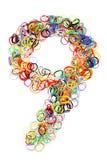 Forme élastique colorée numéro neuf de bandes élastiques Image libre de droits