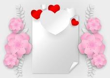 Forme abstraite de coeur de vecteur avec l'espace de copie sur le fond blanc, concept de jour du ` s de valentine Images stock