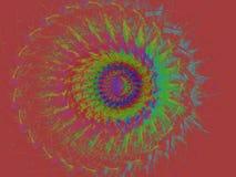 Forme abstraite de mandala sur la carte rectangulaire rouge Images libres de droits
