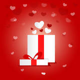 Forme actuelle de Valentine Day Holiday Love Heart de boîte-cadeau Image stock